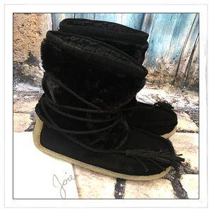 NEW Joie Black Alabama Faux Fur Boots